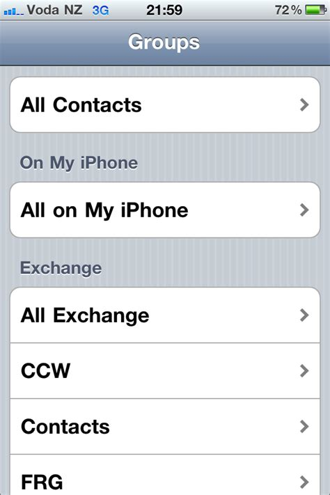 syncing iphone contacts   exchange server