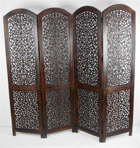 Jali Home Design Co Uk 4 Panel Carved Wooden Indian Screen Screen Divider