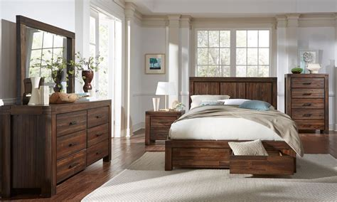 solid mahogany bedroom set 4 piece meadow solid wood storage bedroom set by modus