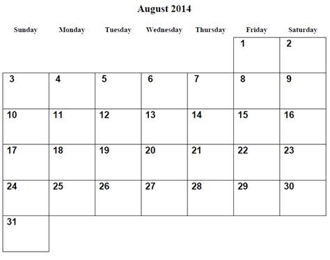 printable monthly calendar august 2014 9 best images of printable 2014 monthly calendar august