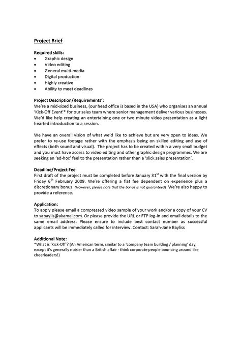 how to write a project brief template a brief introduction welcome to my site
