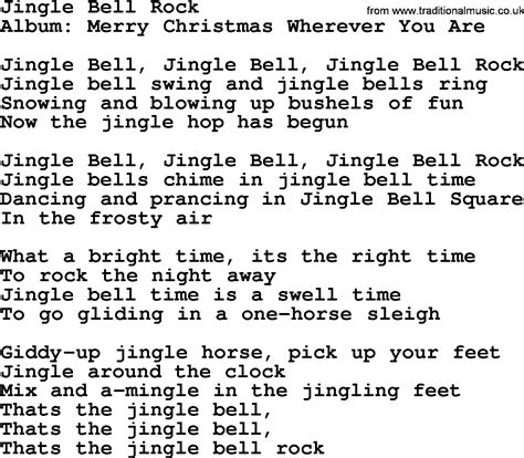 gingol bel testo jingle bell rock song lyrics chords