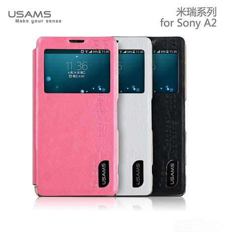 Sony Xperia A2 With usams sony xperia a2 stand cover luxury pu leather