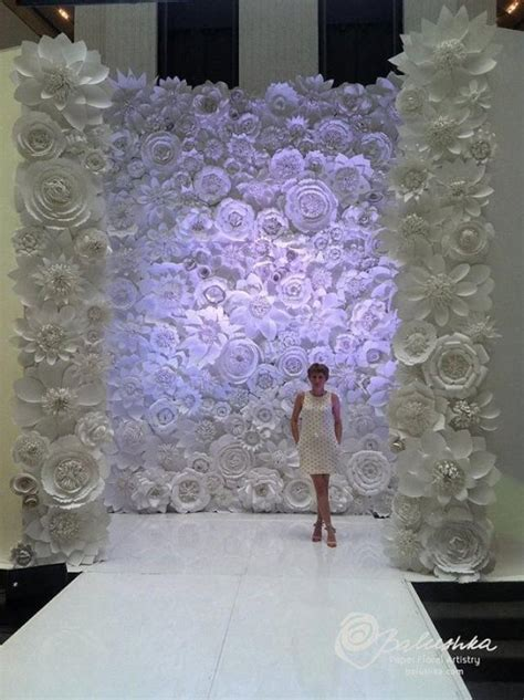 paper flower wall 11 x 16 for rental white or ivory