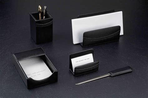 Black Desk Accessories by Black Leather Office Desk Sets Leather Conference