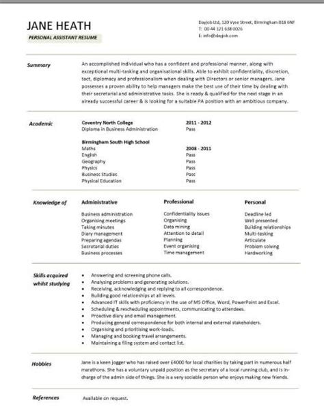 Student Resume Form by Student Cv Template Sles Student Graduate Cv Qualifications Career Advice