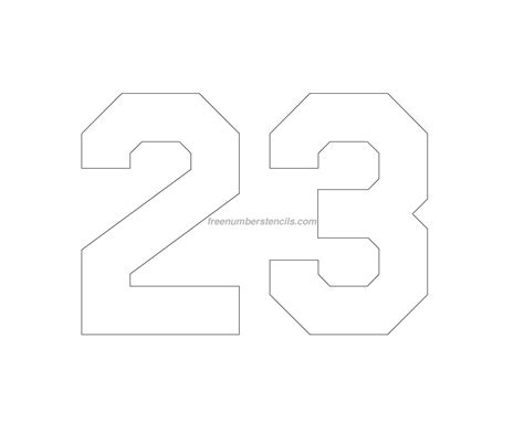 number template free jersey printable 23 number stencil