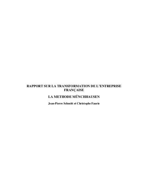 Rapport sur la transformation de l'entreprise - Méthode