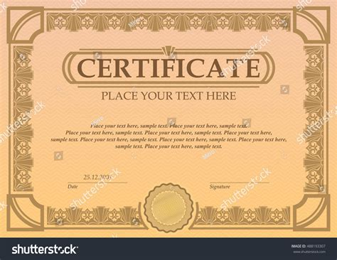 coupon certificate template certificate coupon template vintage border stock vector
