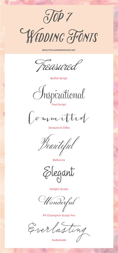 Wedding Font In by My Top 7 Fonts For Weddings Font Series 01 Beautiful