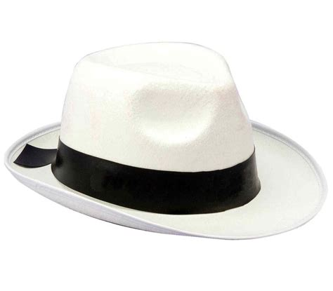 white gangster hat costume fedora black band 20s