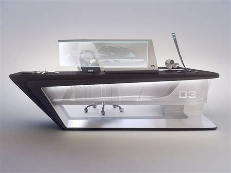futuristic desk modern desk design on behance black and white