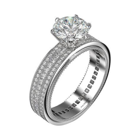 3 rows pav 233 and princess cut engagement ring
