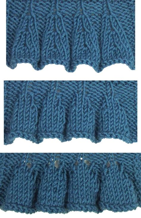 knitting edge stitch top ruffles are found in the edging stitches category