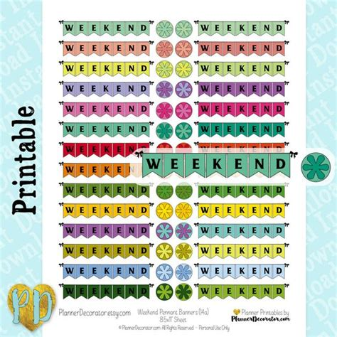 printable weekend banner weekend pennant banner printable planner stickers