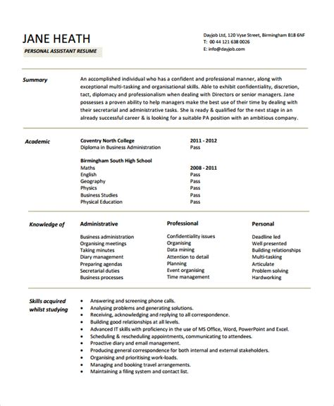 personal assistant resume personal resume template 6 free word pdf document