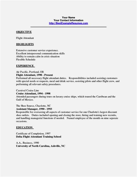 Flight Attendant Resume Objective by Entry Level Flight Attendant Resume Resume Template