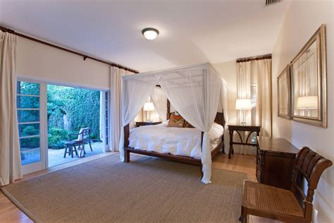 white sheer curtains bedroom tropical with bed canopy