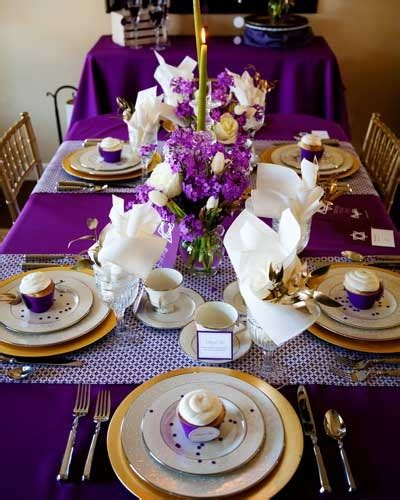Purple And Gold Birthday Decorations by Purple And Gold Dinner Tablescape B Lovely Events