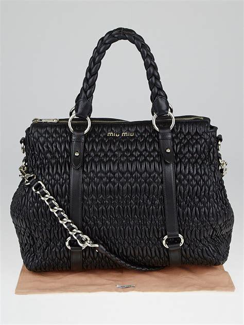 Miu Miu Ruched Shopping Bag by Miu Miu Black Cloquet Nappa Leather Shopping Tote Bag