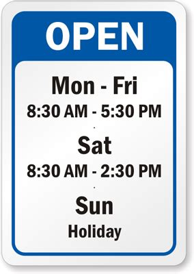 Business Hours Signs Opening Hours Sign Template