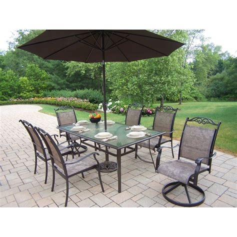 Patio Furniture Set With Umbrella Oakland Living Cascade Patio Dining Set With Umbrella And Stand Seats 6 Patio Dining Sets At