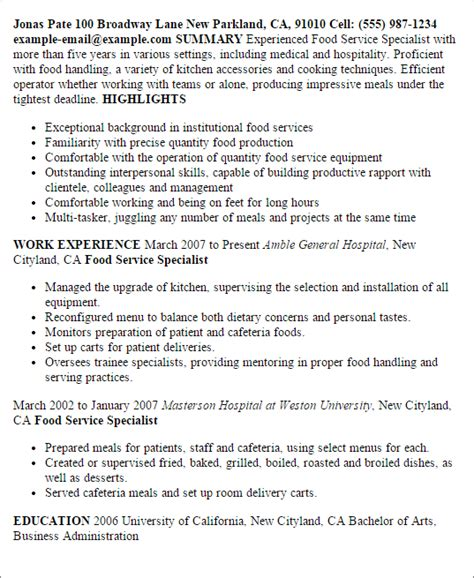 Food Service Resume Template by Food Service Specialist Resume Template Best Design