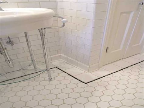 white tile bathroom floor and back to post bathroom floor