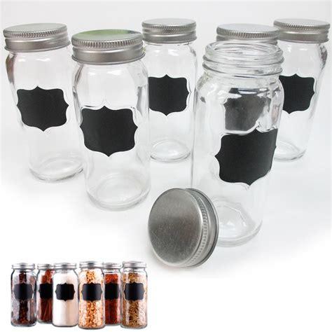 Clear Spice Jars Set Of 6 Clear Glass Spice Jars Storage Caps 3 7 Oz