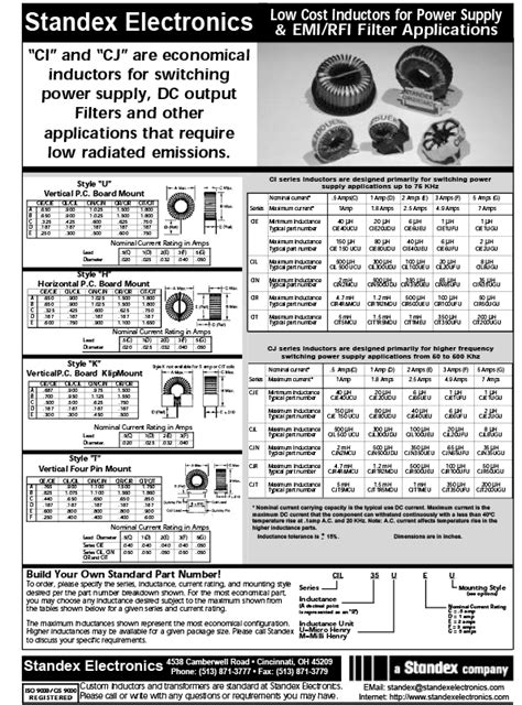 differential mode choke datasheet datasheet ci cj series high frequency toroidal differential mode inductor standex meder