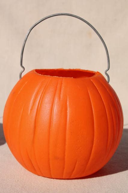 vintage plastic halloween pumpkins  trick  treat pails jack  lanterns  wire