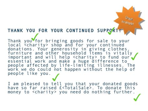 Thank You Letter For Coat Donation Donor Development For Charity Shop Donors