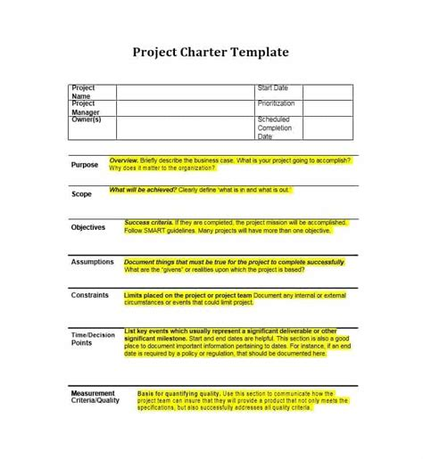 40 Project Charter Templates Sles Excel Word Template Archive Project Charter Template