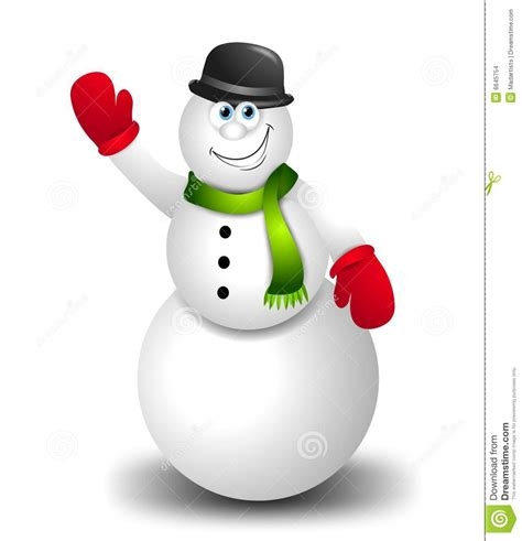 cartoon snowman waving stock images image 6645754