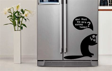 Wall Vinyls Home Decor 22 x28 vinyl fridge decal cute curious cat decor