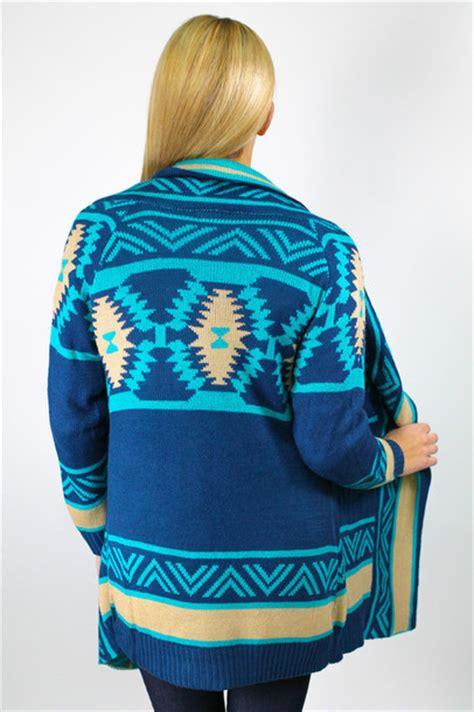 Blue Tribal Sweater sweater tribal pattern tribal pattern cardigan knitted cardigan oversized cardigan tribal