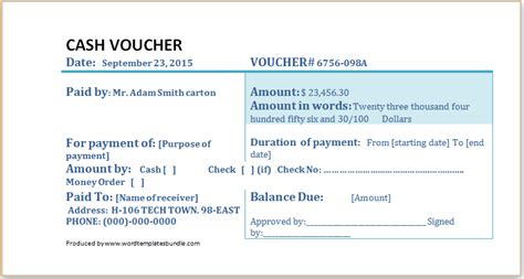 ms word cash voucher template formal word templates