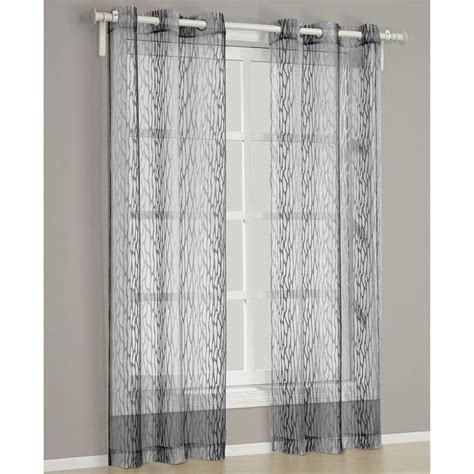 Charcoal Sheer Curtains Barcelona Charcoal 84 Inch Curtain Panel Pair