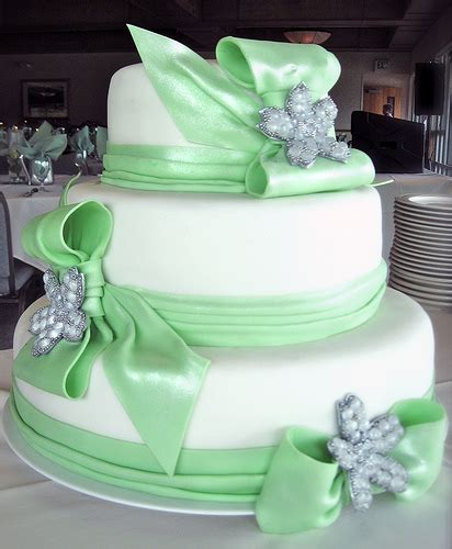 Green Weddings With The Carbonneutral Company Hippyshopper by Three Tier Wedding Cake With Seafoam Green Fondant Ribbons