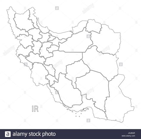 Iran Map Outline by Iran Outline Silhouette Map Illustration With Provinces Stock Vector Illustration Vector