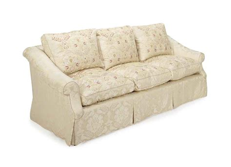 damask sofa an embroidered cream silk damask upholstered three seat