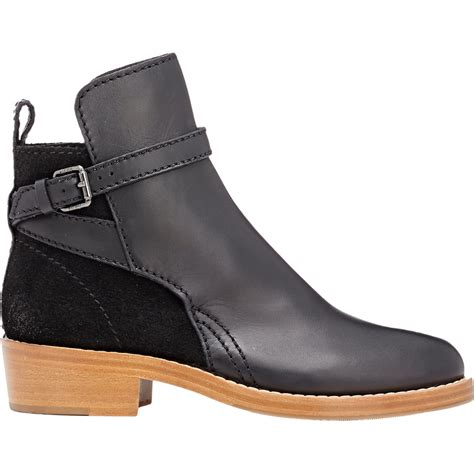 acne leather suede clover boots in black lyst