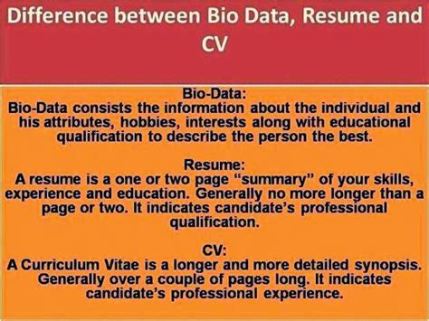 What Is The Difference Between Mba And Ms by Bio Data Vs Resume Vs Curriculum Vitae Department Of