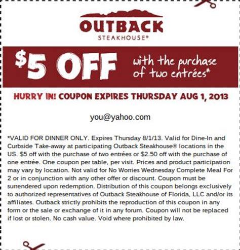 outback steakhouse save 5 on 2 dinner entrees 1000 images about outback coupons on lunch