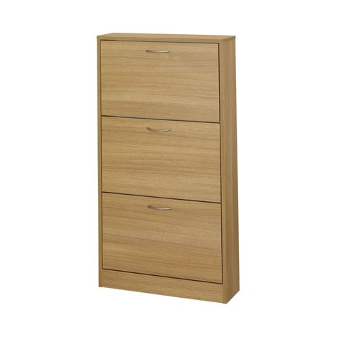 door shoe lpd furniture nova oak 3 door shoe cabinet leader stores