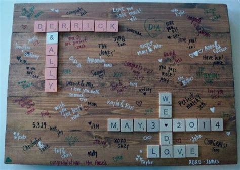 craziest scrabble mount scrabble pieces on a rustic slab of wood as a guest