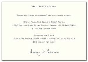 accommodations card wedding card exles of wedding invitation wording for