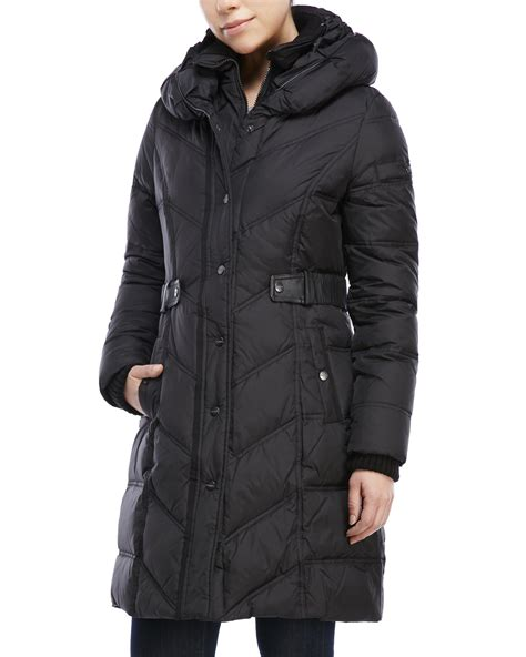 Pillow Collar Coats by Dkny Black Quilted Pillow Collar Belted Coat In Black