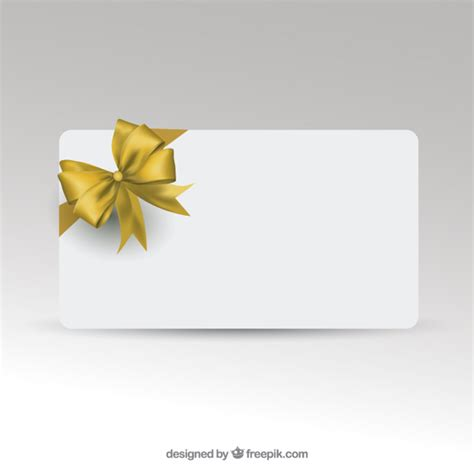 Creating Gift Cards - gift card template with golden ribbon vector free download