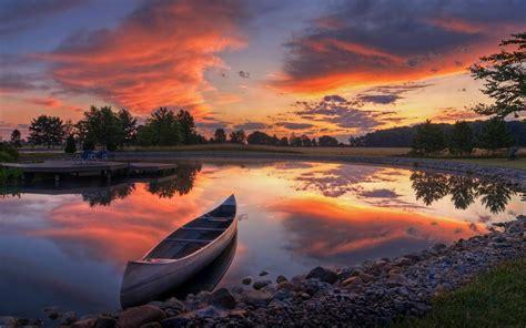 boat lake tree sunset blackout wallpaperscom